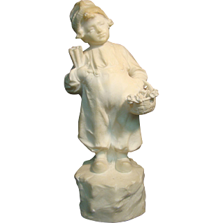 G Pochini carved alabaster Italian boy sculpture listed artist
