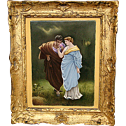 Large hand painted porcelain plaque courting scene
