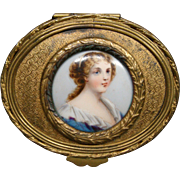 Antique French jewelry trinket box hand painted porcelain portrait medallion