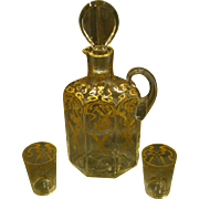 Art nouveau crystal and gilded decanter and glasses