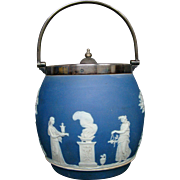 Wedgwood blue jasperware classic figures biscuit jar