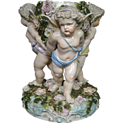 German antique porcelain large cupid centerpiece bowl crossed swords mark