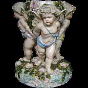 German antique porcelain large cupid centerpiece bowl crossed swords mark