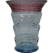 Fry threaded art glass controlled bubble vase unusual colors