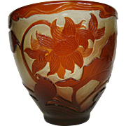 Emile Galle wheel carved fire polished French cameo glass vase