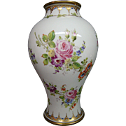 French porcelain hand painted vase multicolored roses and flowers