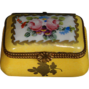 Sevres porcelain hand painted roses yellow trinket box