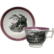 Antique pink lustre cup and saucer hunting dog and game scene