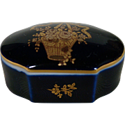 Limoges Castel France porcelain cobalt blue 22K gold floral trinket box