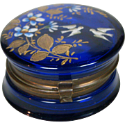 Antique cobalt blue enameled trinket or pill box flowers and birds