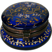 Antique cobalt blue gold enameled flowers and leaves trinket or pill box