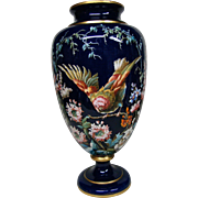 Huge antique Bohemian Czech Harrach heavily enameled art glass vase birds and flowers