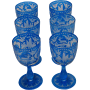 Bohemian etched glass set of six blue wine goblets deer or stag