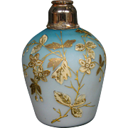Antique blue satin glass enameled gilded flowers perfume cologne bottle