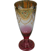Moser tall gilded enameled floral footed art glass goblet stem