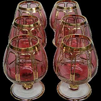 Moser cranberry ruby gold panel set six brandy glasses goblets