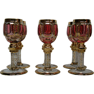 Moser cranberry ruby gold panel set six matching cordial goblets glasses