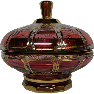 Moser ruby cranberry gold panel large covered footed box