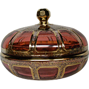 Moser cranberry ruby gold panel round covered art glass box