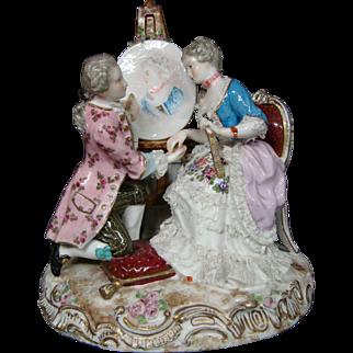 Meissen antique porcelain figurine artist painting woman's portrait