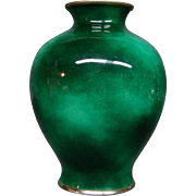 Unusual Japanese cloisonne green sponge vase