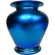 Durand blue iridescent art glass vase