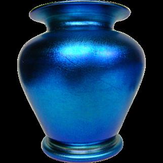 Durand blue iridescent art glass vase