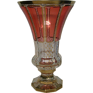 Moser cranberry ruby cabochon panel gold large art glass vase