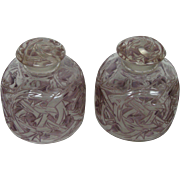 R Lalique Epines pair of lavender perfume bottles Rene 1920's