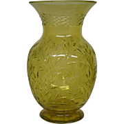 Pairpoint Canaria yellow Colias pattern tall vase butterflies and spiderwebs wheel cut