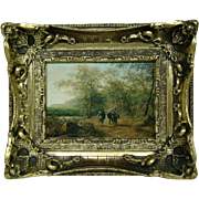 Schubert signed antique oil painting woodland scene figures on path A Dobbs sticker