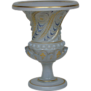 Antique French opaline glass decorated vase urn form