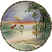 Nippon hand painted scenic charger plate house trees lake