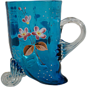 Victorian art glass blue footed enameled mug