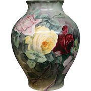 American Belleek hand painted roses large vase