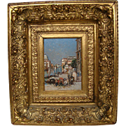 Paul Duvergne signed antique Venetian scene oil painting