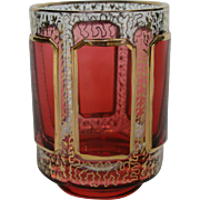 Moser cranberry ruby cabochon panel art glass vase toothpick holder