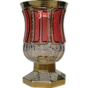 Moser cranberry ruby cabochon panel chalice form art glass vase