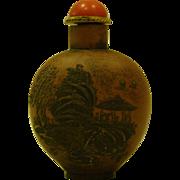 Terra cotta pottery oriental snuff bottle landscape signed