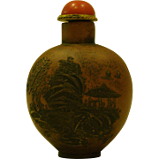 Terra cotta pottery oriental snuff bottle landscape signed