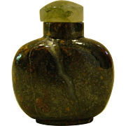 Grey brown agate stone oriental snuff bottle