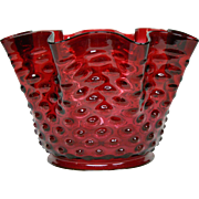 Antique cranberry Hobbs hobnail art glass lamp shade