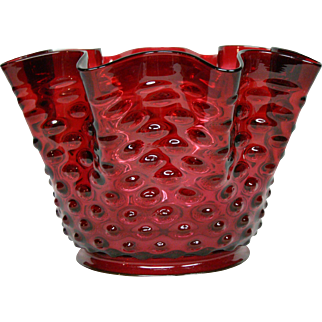 Antique cranberry Hobbs hobnail art glass lamp shade