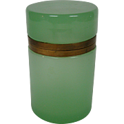 Antique green opaline glass dresser box jar cylindrical