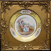 Sevres porcelain framed courting scene hand painted plate