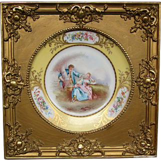 Sevres porcelain framed courting scene hand painted plate
