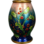 French enamel miniature vase holly berries artist signed Adam