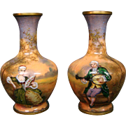 French enamel pair miniature vases artist signed Vibert courting scenes
