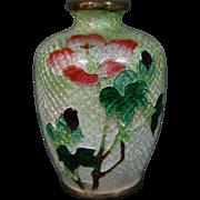 Cloisonne signed miniature ginbari floral vase