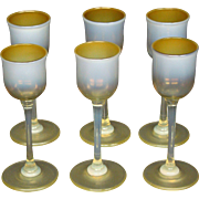 LCT Tiffany Favrile pastel tone cordial goblet butterscotch heat reactive art glass